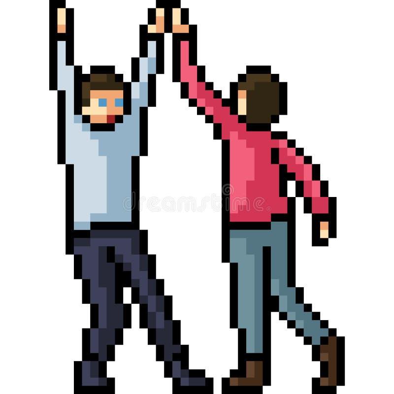 Haute cinq d'homme d'art de pixel de vecteur illustration stock