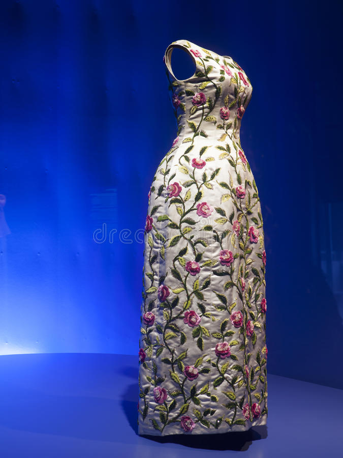 Haute couture dress. 20s expensive gorgeous dress hand made by Balenciaga royalty free stock photos