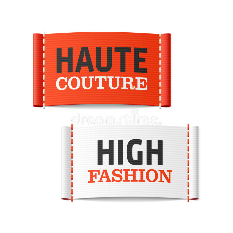 Haute Couture and High Fashion clothing labels vector illustration