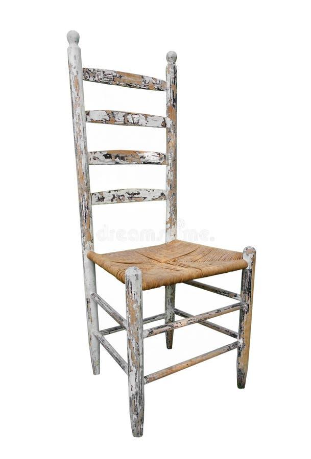 Haute-en arrière présidence en bois antique d'isolement. photo stock