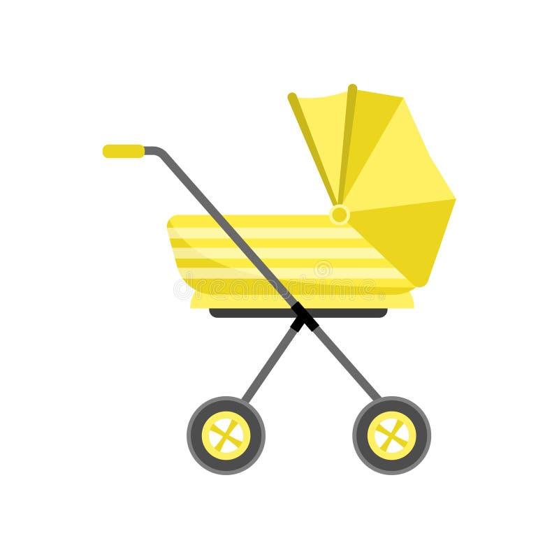 Haute poussette de bébé moderne jaune, rétro conception illustration libre de droits