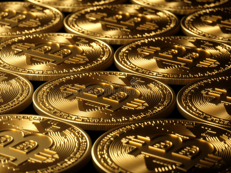 Haute résolution de fond d'or de Bitcoin photos stock