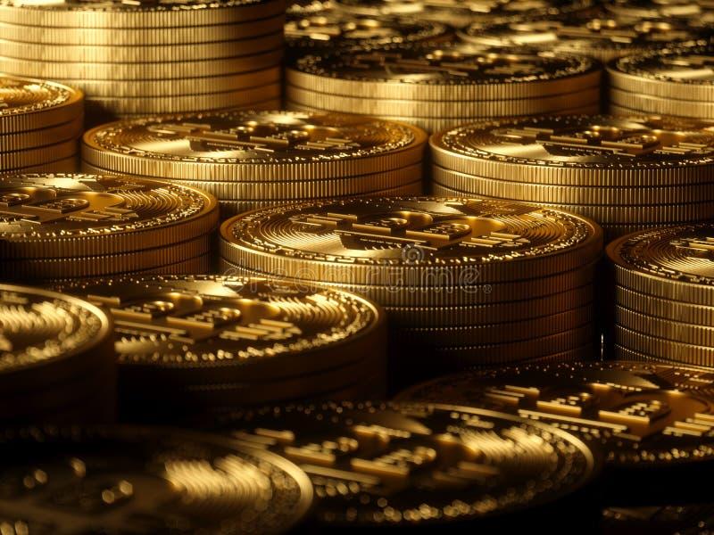 Haute résolution de fond d'or de Bitcoin image libre de droits
