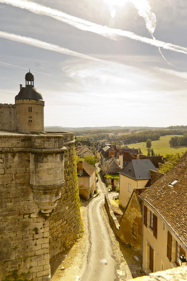 Hautefort and Hautefort castle Dordogne France royalty free stock photography