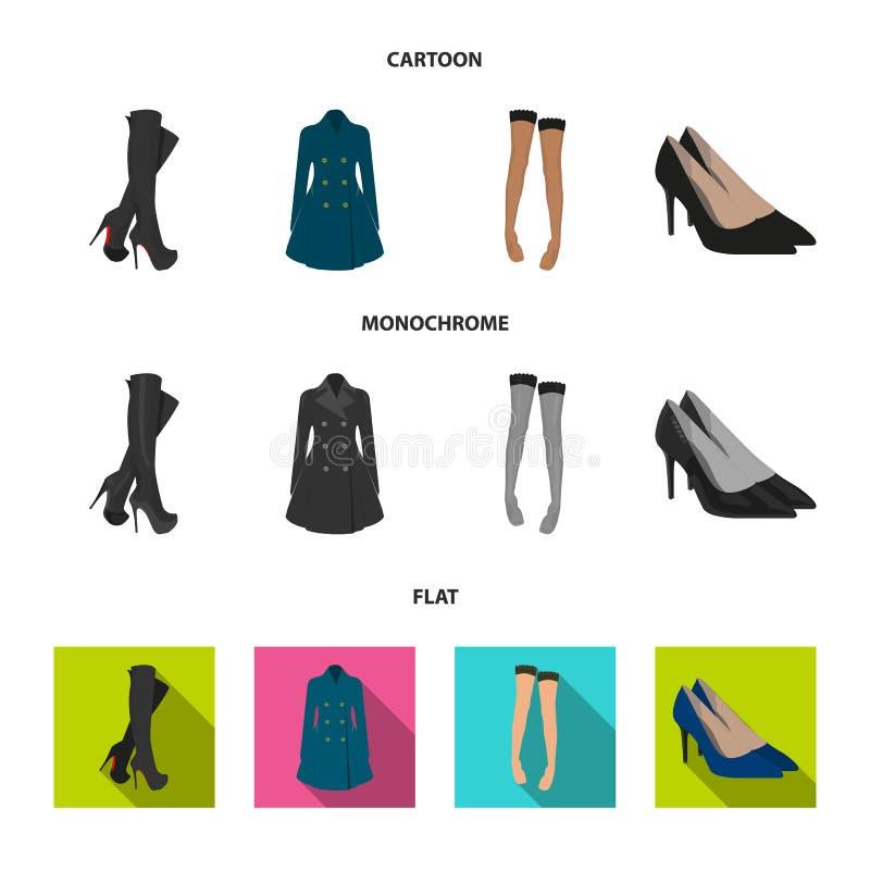 Hautes bottes de femmes, manteaux sur les boutons, bas avec une bande élastique avec un modèle, chaussures à talons hauts Ensembl illustration stock
