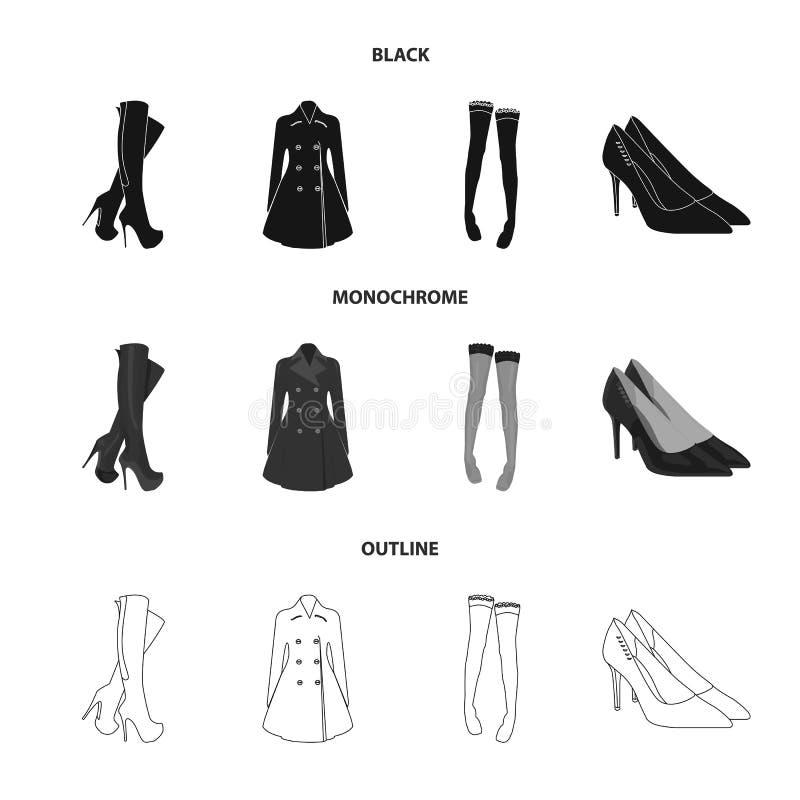 Hautes bottes de femmes, manteaux sur les boutons, bas avec une bande élastique avec un modèle, chaussures à talons hauts Ensembl illustration libre de droits