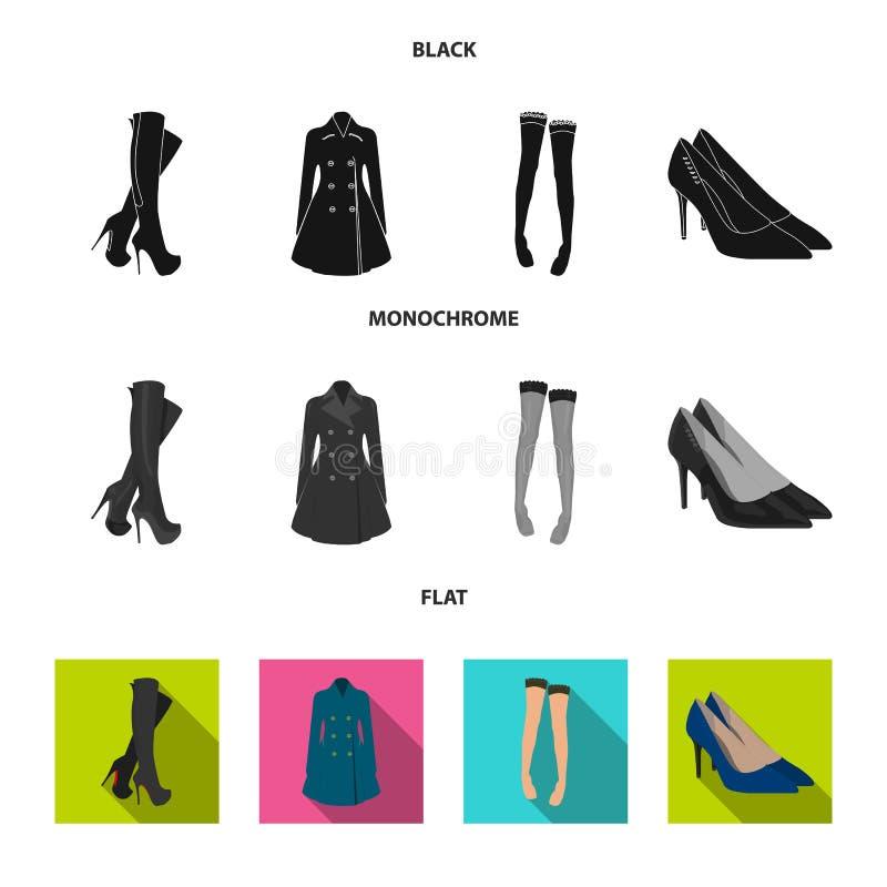 Hautes bottes de femmes, manteaux sur les boutons, bas avec une bande élastique avec un modèle, chaussures à talons hauts Ensembl illustration de vecteur