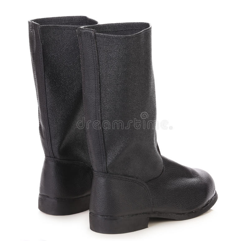 Hautes bottes en cuir noires. photos stock