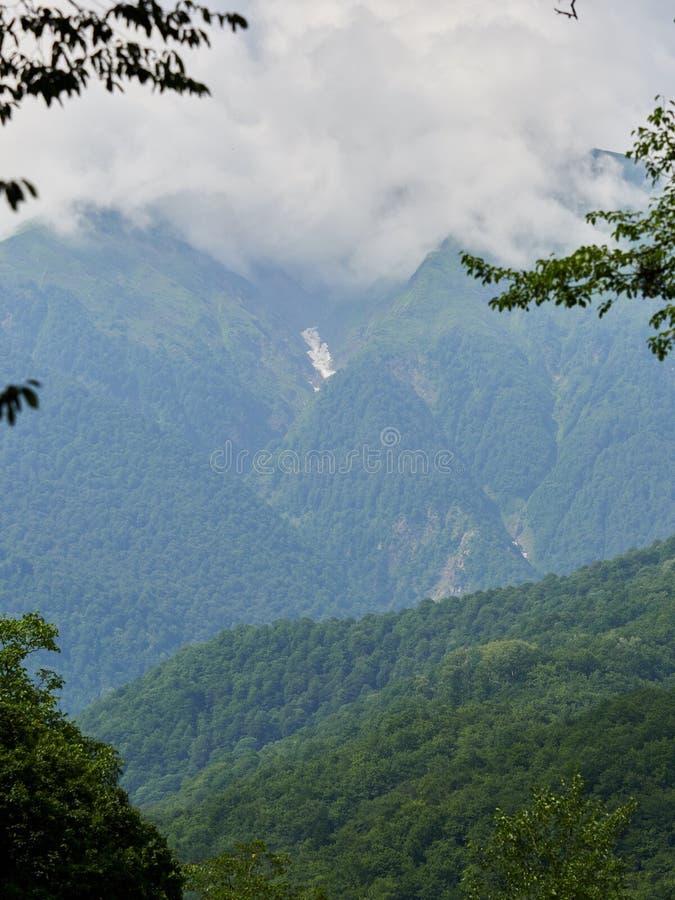 Hautes montagnes vertes avec la neige dans les gorges Les dessus des montagnes dans les nuages et le brouillard photos stock