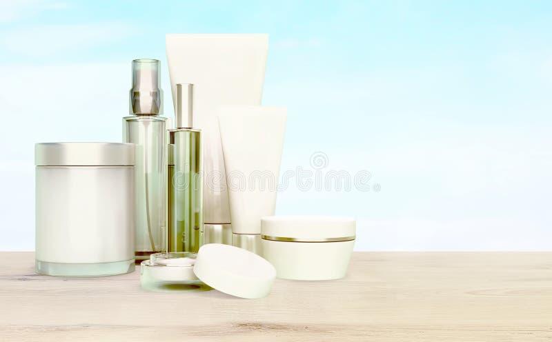 Hautpflege auf einem Holztisch auf einem Hintergrund des blauen Himmels lizenzfreies stockbild