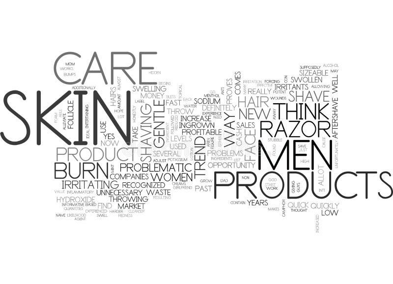 Hautpflege-ist problematisches des heutigen Tages der Mann-S Text-Hintergrund-Wort-Wolken-Konzept lizenzfreie abbildung