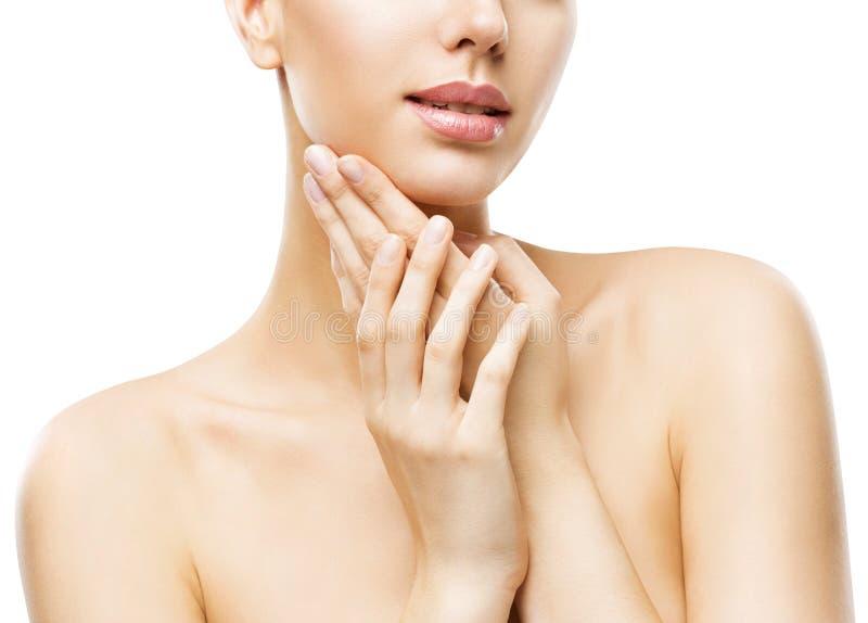 Hautpflege-Schönheit, attraktives Frauen-Gesicht übergibt Skincare, weiß stockfoto