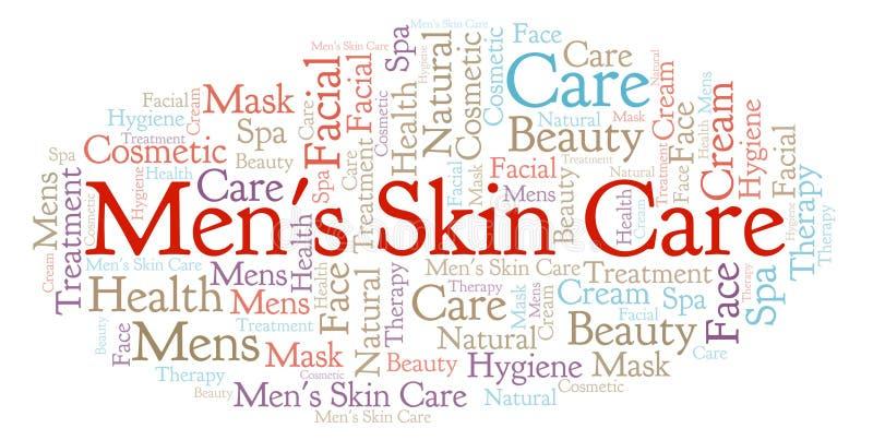 Hautpflege-Wortwolke der Männer vektor abbildung