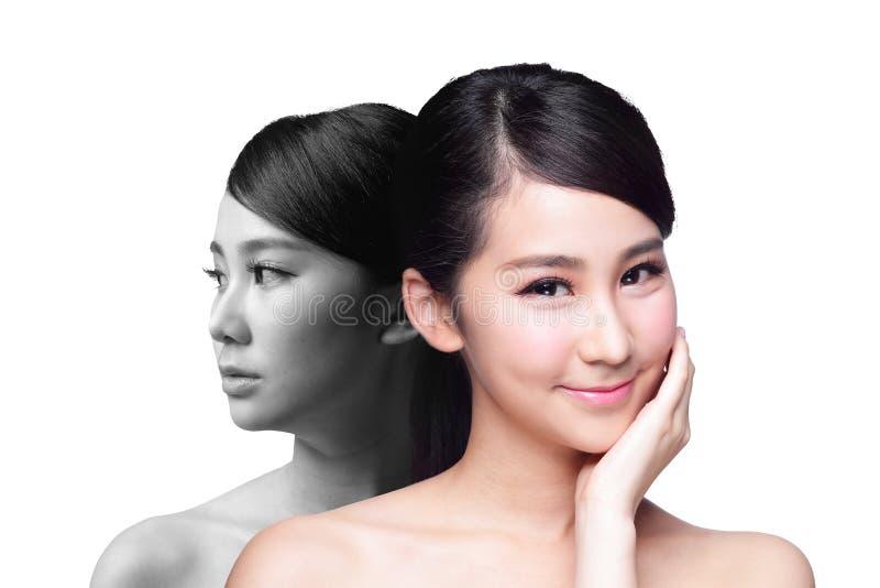 Hautpflegefrau nachher und vorher lizenzfreie stockfotos