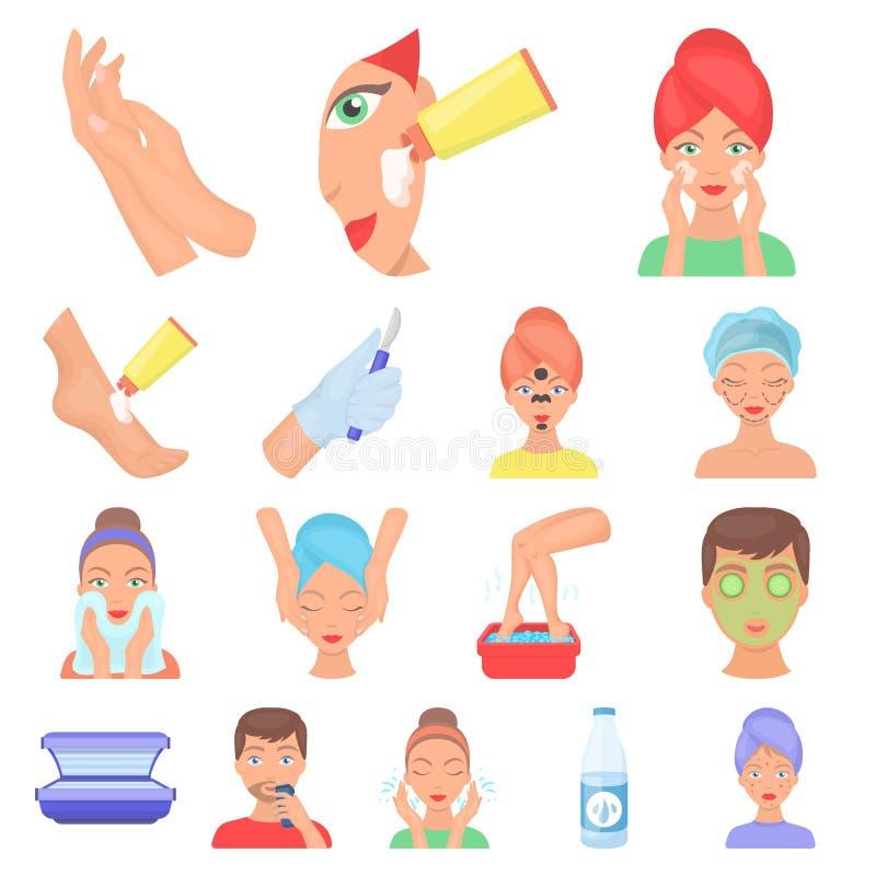 Hautpflegekarikaturikonen in der Satzsammlung für Design Gesicht stock abbildung