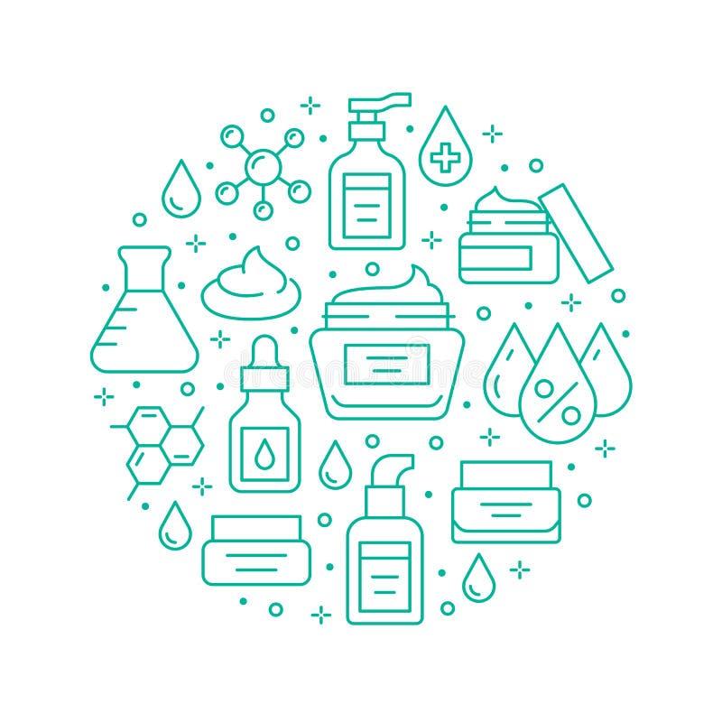 Hautpflegekreisplakat mit flachen Symbolen Hyaluronsäure-Tropfen, Serum, Anti-Agonierungs-Compound Retinol, feuchtigkeitsspendend lizenzfreie abbildung