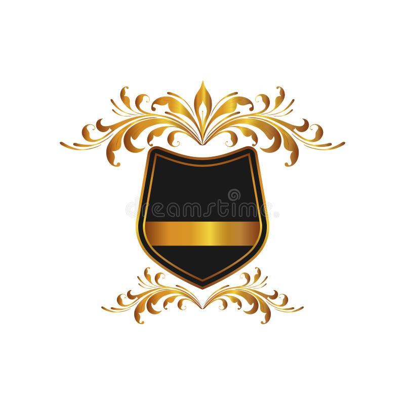 Hauts cadre et bannière fleuris de luxe antiques D'isolement sur le fond Annoncez le logo et protégez le symbole pour votre conce illustration stock