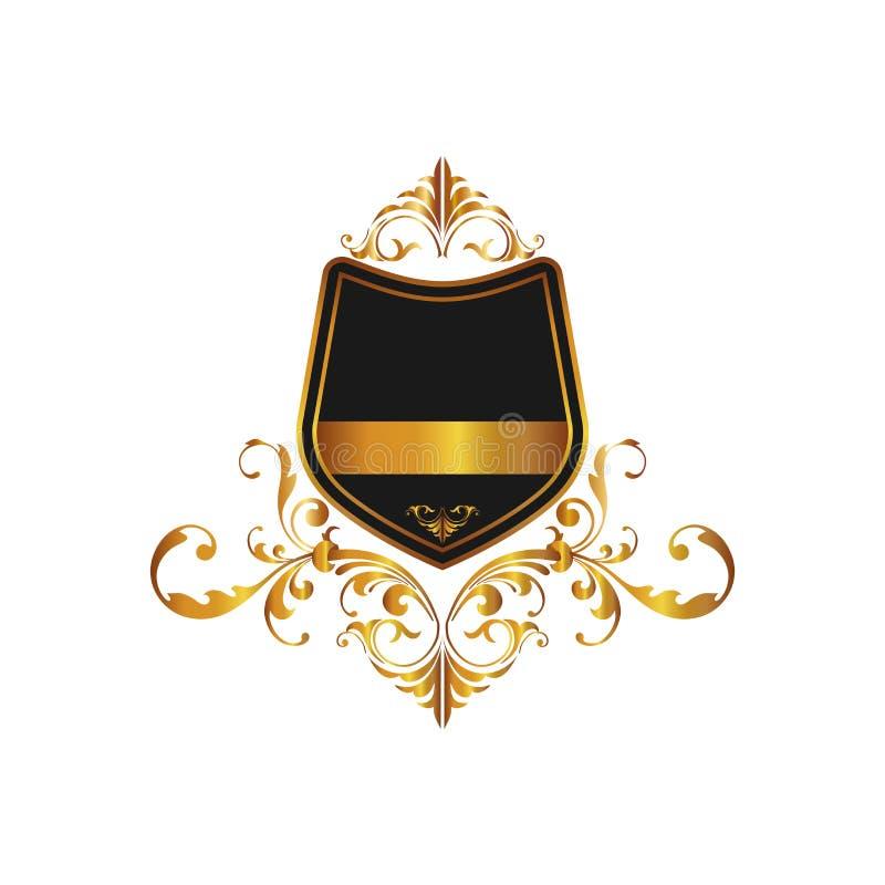Hauts cadre et bannière fleuris de luxe antiques D'isolement sur le fond Annoncez le logo et protégez le symbole pour votre conce illustration libre de droits