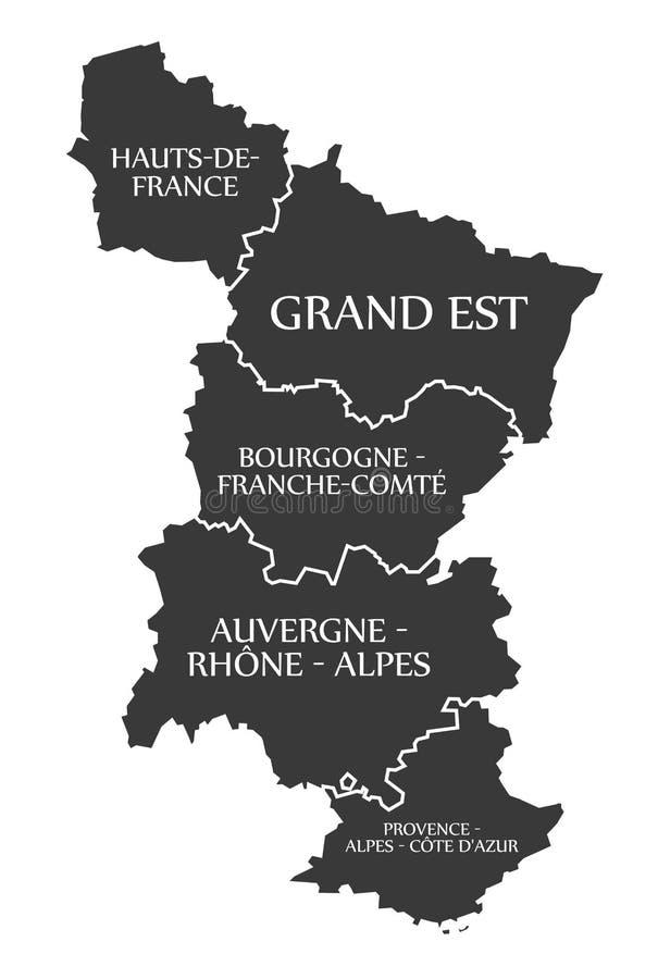 Hauts de法国-盛大Est -布戈尼-奥韦涅-普罗旺斯地图 向量例证