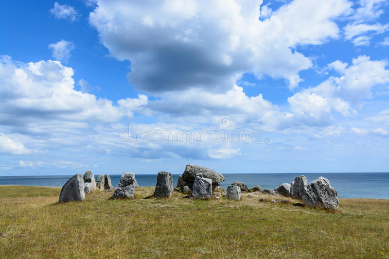 The Haväng Dolmen. An important burial place from the neolithic period, about 5000 years ago. Simrishamn, south Sweden royalty free stock photography