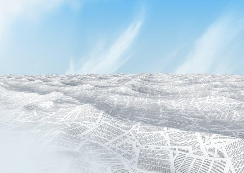 hav av dokument under blå himmel stock illustrationer