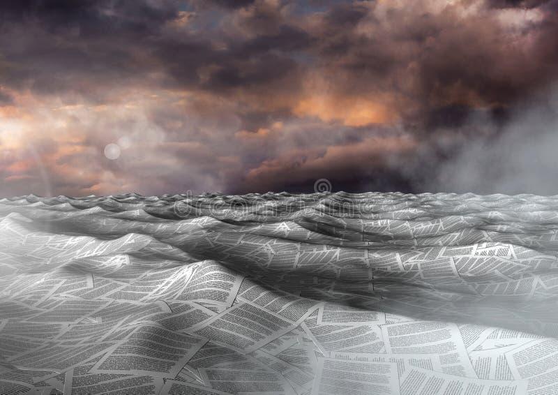 hav av dokument under dramatisk skymninghimmel stock illustrationer