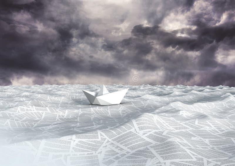 hav av dokument under mörka himmelmoln stock illustrationer