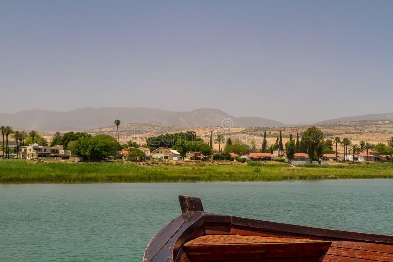 Hav av Galilee, Israel, sikt från fartyget arkivfoton