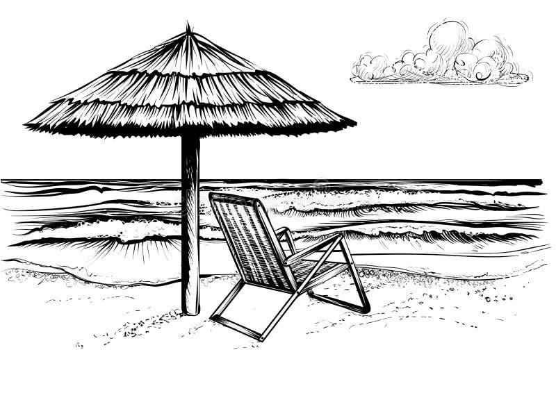 Hav- eller havsstrand med paraplyet och schäslong stock illustrationer