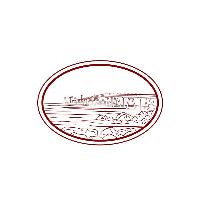 Hav- eller havsstranden med vågor, skissar vektorillustrationen av havskusten med gömma i handflatan, vaggar, och bron Hand drage stock illustrationer