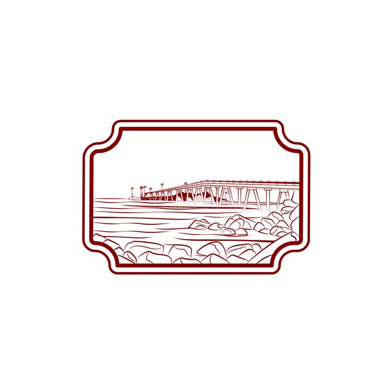 Hav- eller havsstranden med vågor, skissar vektorillustrationen av havskusten med gömma i handflatan, vaggar, och bron Hand drage vektor illustrationer