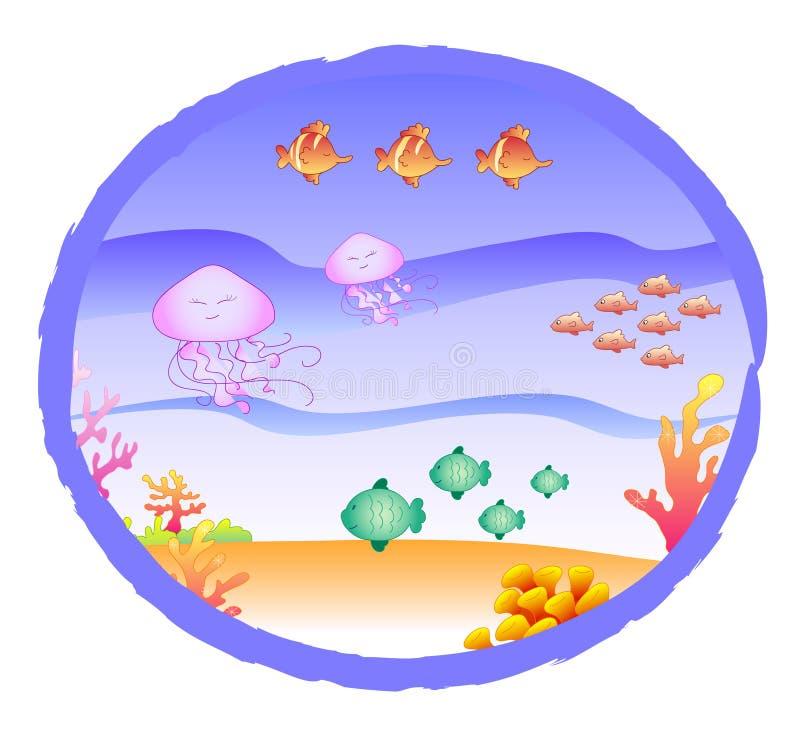 hav för korallfiskmanetar stock illustrationer