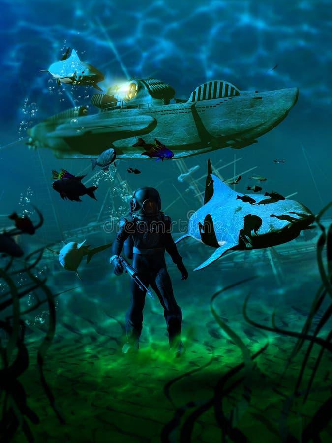 hav för 20000 ligor under royaltyfri illustrationer