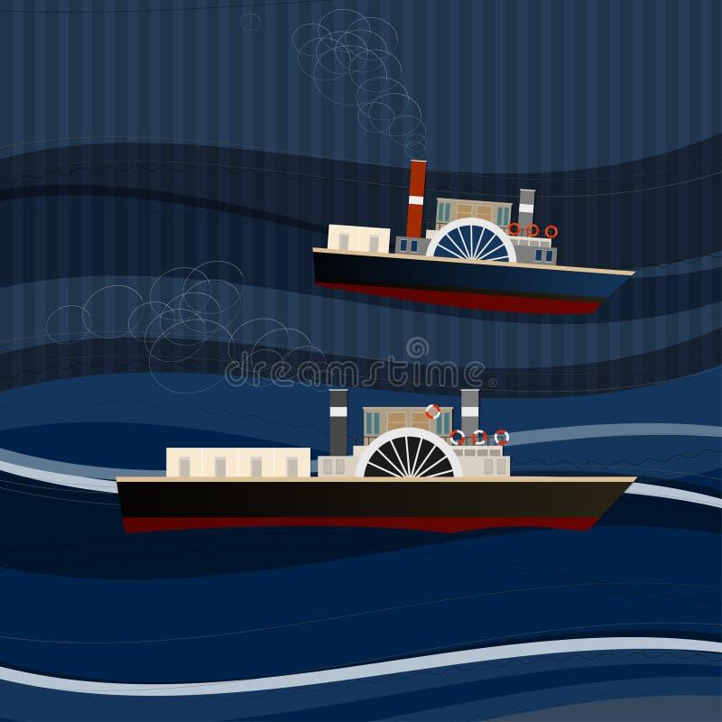 Hav för 01 skepp vektor illustrationer