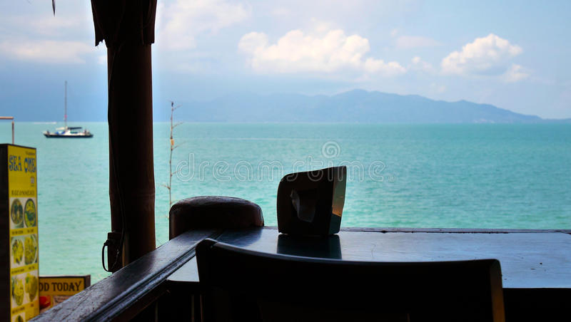 Hav för synvinkelThailand Koh Samui restaurang arkivbilder