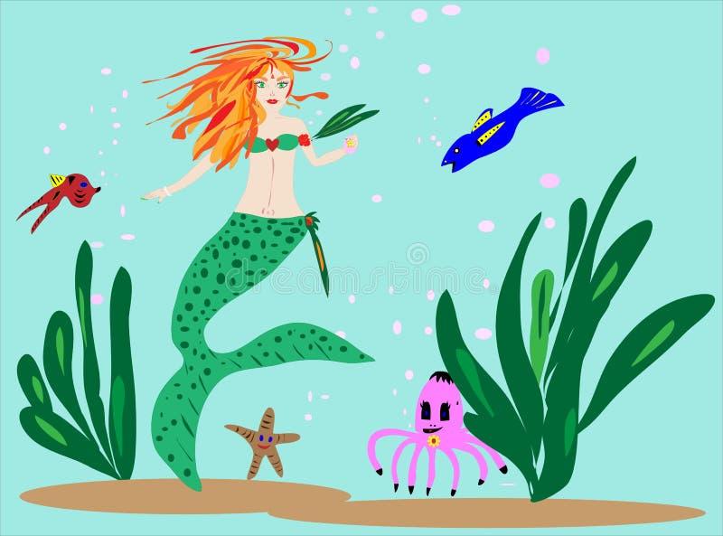 hav för vänillustrationmermaid royaltyfri fotografi