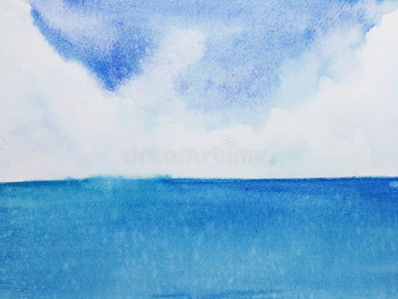 Hav för vattenfärglandskaphorisont royaltyfri illustrationer