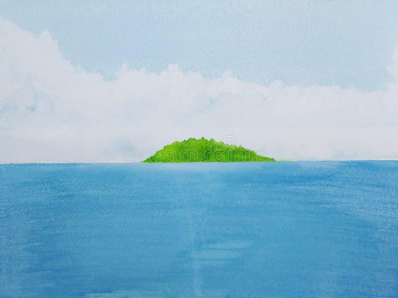 Hav för vattenfärgmålninglandskap med den gröna ön stock illustrationer