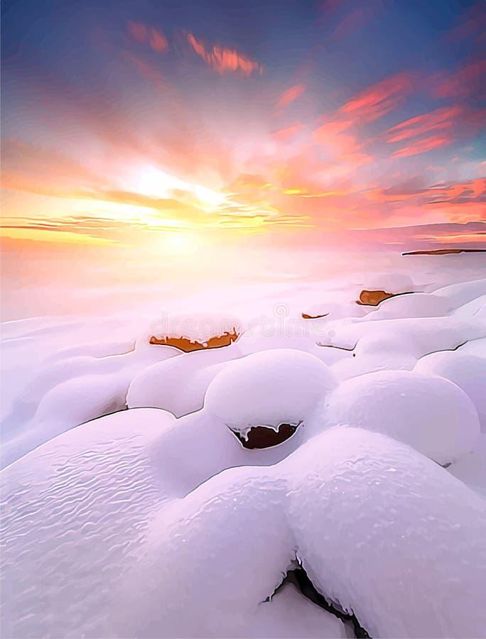 Hav för vintersolnedgånglandskap på purpurfärgad bakgrund med stenar vinter f?r bakgrundsv?gsnow Illustration f?r vektor EPS8 f?r royaltyfri illustrationer