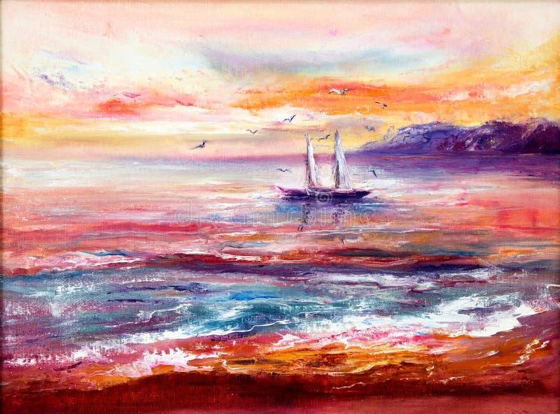 Hav, fartyg och solnedgång royaltyfri illustrationer