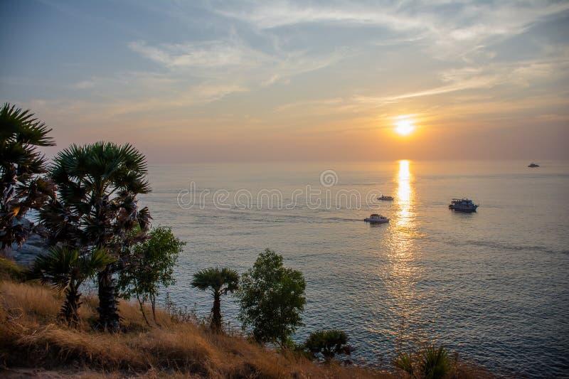 Hav Glassland och solnedgång arkivfoto