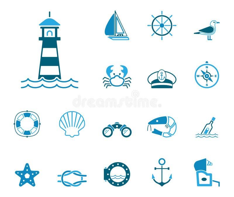 Hav & kust - Iconset - symboler stock illustrationer