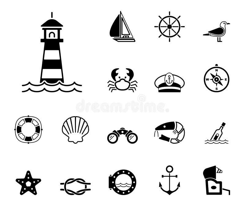 Hav & kust - Iconset - symboler royaltyfri illustrationer