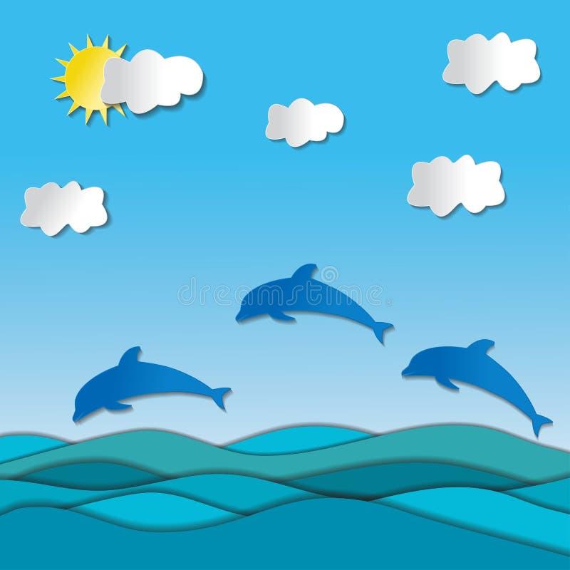 Hav med delfin och solen vektor illustrationer