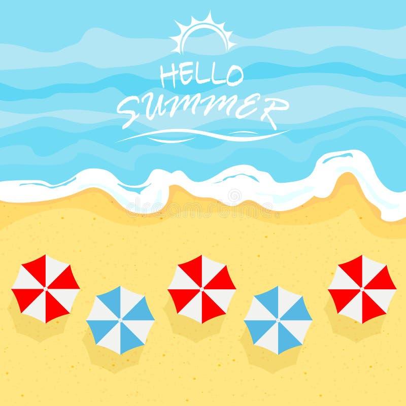 Hav med sommarstranden och paraplyer royaltyfri illustrationer