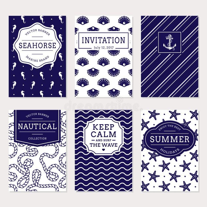 Hav och nautiska baner Denna är mappen av formatet EPS8 royaltyfri illustrationer