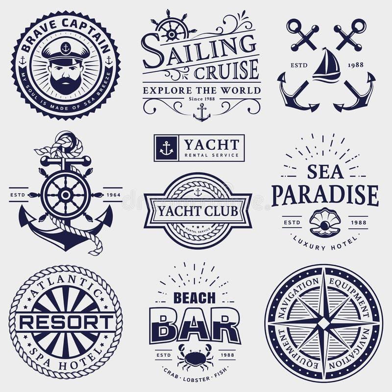 Hav och nautiska logoer som isoleras på vit bakgrund royaltyfri illustrationer