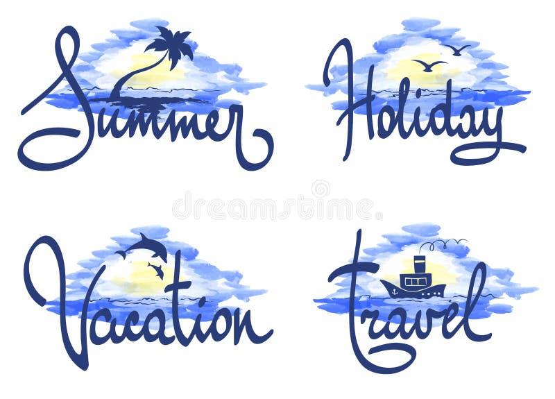 Hav och strand -- Ställ in banret vektor illustrationer