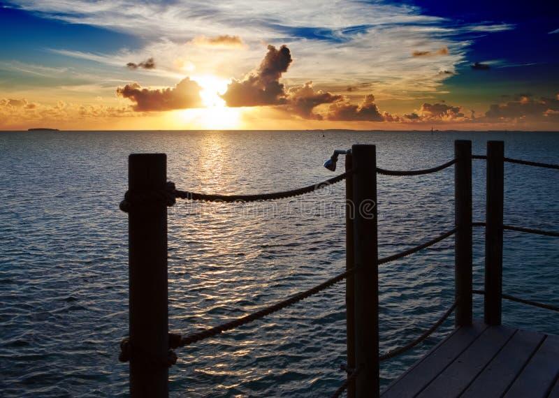 Hav på solnedgången polynesia arkivbild