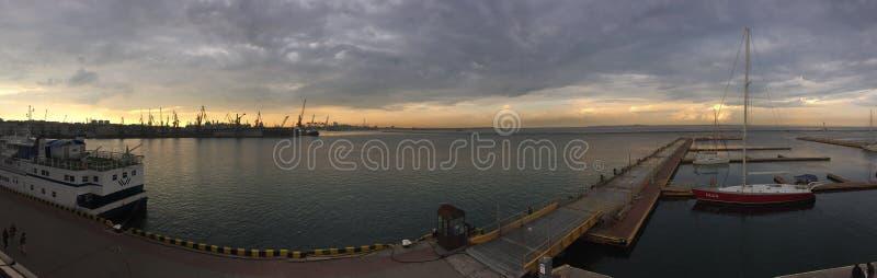 Hav panorama stor marin- militär station för bussgarage odessa fotografering för bildbyråer